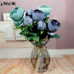 Wholesale Artificial Flower Bouquet Large - 1pcs 12 Bifurcation Large Silk Artificial Flowers Bouquet Fall Vivid Peony Fake Flower Leaf Wedding Home Party Tables Decoration