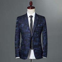d69416d40ab Male Suite 2018 Autumn Classic Brand Blazer Men Single Button Casual Print Slim  Fit Business Suit Jacket Wine red Grey Khaki S18101903 casual suite jacket  ...