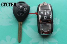 Wholesale Flip Key Alarm - CYCTEM 3 Buttons Flip Folding Remote Key Shell Fob Case Blank Cover Toy43 Car Keyless Entry Alarm Housing Fit For Toyota Camry