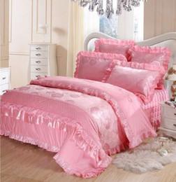 розовый коричневый покрывало Скидка Покрывало покрывало свадьба из четырех частей свадьба Новый кружева Принцесса кружева розовый Розовый постельные принадлежности
