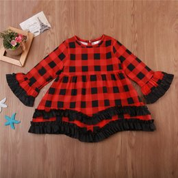 Wholesale toddler natural pageant dresses - Kid Baby Girls Dress Christmas Red Plaid Tutu Dress Toddler Kids Princess Long Sleeve Plaids Party Pageant Dresses B11