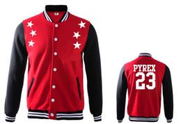 männer namen marke jacken Rabatt Pyrex Vision Stars # 23 Leder Baseball Jacken Sweatshirts Sweats Hip Hop Mäntel Rock Männer Mode Name Marke Anzug männliche Kleidung