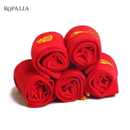 Wholesale Socks Wholesale China - High quality Wedding socks red socks Breathable Embroider sock China Knot Marriage Cotton Red Tube