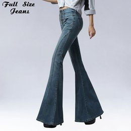 Canada 2017 Vintage Skinny Flare Jeans Single Breasted Hip Slim Fit Pantalon Large Jambe Big Bell Jeans Bas Plus La Taille Jean Slim Femme XXXL cheap breast bells Offre