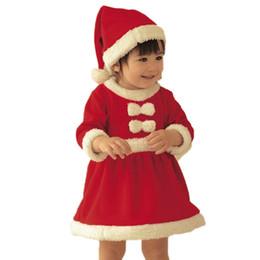 Baby Girls Christmas Santa Claus Vestidos y Sombrero 2pcs Conjunto Toddler Girls Red Ropa de Navidad de manga larga desde fabricantes