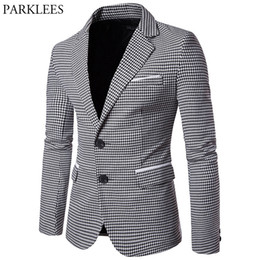 cc64769f46c Chaqueta de tela escocesa de los hombres 2017 Houndstooth Blazers para  hombre Blazer de un solo pecho hombres Casual Slim Fit traje de chaqueta de  hombre ...