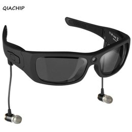 Wholesale Video Camera Headset - QIACHIP Eyewear Sunglasses Mini Camera Support TF Card Video Recorder DVR MP3 Camcorder Music glasses with Bluetooth Headset H3