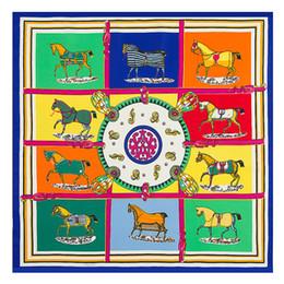 Wholesale horse silk scarf square - 60cm*60cm Imitated Silk Scarves Classic Twill Ten Horse Women Square Scarf Fashion Print Ladies Shawl 7 52mt Y