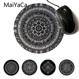 Coussins en caoutchouc blanc en Ligne-MaiYaCa vos propres tapis Doodle Mandala en noir blanc moderne tapis de souris jeu d'ordinateur en caoutchouc tapis de souris rond