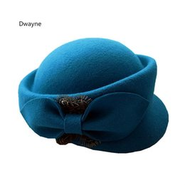 Wholesale Woolen Hats For Women - Elegant Ladies Bow Fedora Hat 2017 New Fashion Autumn Winter Wool Beret Hat For WOmen Woolen Pillbox Stewardess Hats