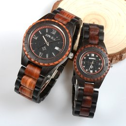 Wholesale Men Watches Eco - BEWELL Brand Men Women Wooden Watches Two Tone Strap Eco-friendly All Wood Band Antique Quartz Watch for Lover in Gift Box W128A