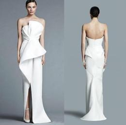 22c4437f832 Bustier Unique Blanc Robes De Soirée 2019 Longueur De Plancher De Mode Avec  Plis Milieu Split Femmes Formelle Partie De Bal Robe BC0116