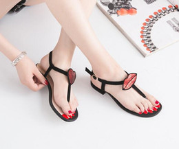 Wholesale Lips Sandals - Hot! New Women Sandals Red mouth Lip-shaped Clip toe Thick with Buckle Sequins Soft bottom Comfortable Women's shoes