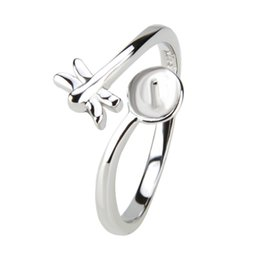 Wholesale fashion adjustable rings - Lovely Design 1 Piece Adjustable 925 Sterling Silver Dragonfly Ring with a DIY Pearl Seat, for Jewelry Making, Fashion Charm