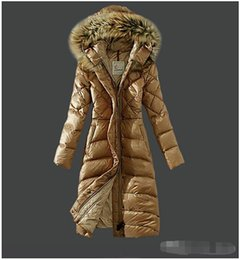Wholesale down feather clothing - 2018 New Fashion Long Winter Jacket Women Slim Female Coat Thicken Parka Down Cotton Clothing Red Clothing Hooded Parkas High Quality HOT