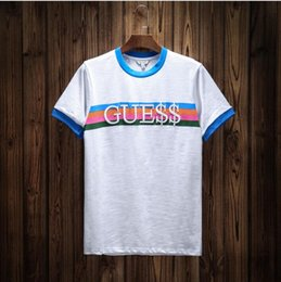 Wholesale Rainbow Shirt Men - 2017SS High Quality men A$AP Rocky T shirt Skateboards striped tops Rainbow Embroidery T-Shirts Cotton Short Sleeve oversize RInger tees