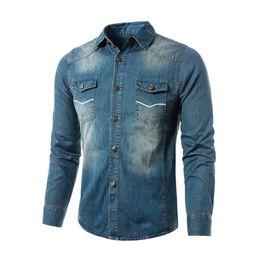 Wholesale Top Men Briefs - Denim Shirt Classic Style Rock Boy Brief Casual Blouse Boys Slim Blusa Tide Streetwear Men Shirts Fashion Metallic Button Tops