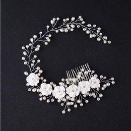 2019 фото корейский Корейская версия невесты, ручной работы жемчужный цветок, фотостудия волос и макияж невесты свадебные аксессуары оголовье скидка фото корейский
