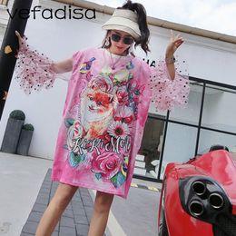 4de39ae804e Vefadisa Mesh Patchwork Fox Print T Shirt 2018 Women Summer Clothes Casual  Tops Animal Pattern Plus Size Long Shirt AD1751