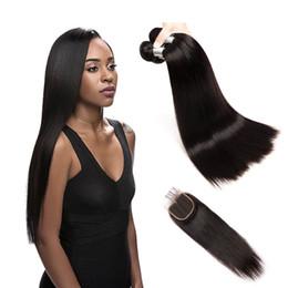 Pacotes indianos crus do cabelo humano de cabelo reto com o Weave do cabelo humano do fechamento com cor natural do fechamento do laço de Fornecedores de tinge weave mel loira