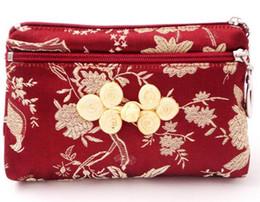 Argentina 13x9 cm Tela de Seda con cremallera Bolsas de Embalaje de Regalo Bolsas de Almacenamiento de joyería vintage floral chino nudo Monedero de Seda Suministro