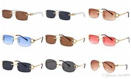 Date Mode Femmes hommes Lunettes de soleil Marque lunettes Designer or jambes en métal monture sans monture lunettes Eyewear Oculos de sol ? partir de fabricateur