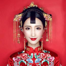 Pelo chino de la novia de la boda online-El traje antiguo de la novia tocado conjunto chino dragón-phoenix boda accesorios para el cabello tocado
