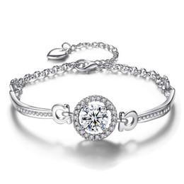 74a86e687 Fashion Women Models Korean Girlfriend Inlaid Zircon Charm Bracelet Jewelry  For Girl Gold Silver Alloy Bracelet Gift