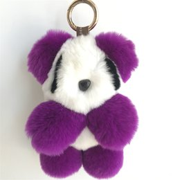 Wholesale panda keychains - Genuine Real Rex Rabbit Fur Panda Bear Kids Plush Doll Toy Bag Charm Keychain