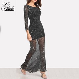 2018 sexy offene rücken maxi kleider Frauen Party Schwarz Scoop Neck  Backless Kleid Langarm Maxi Kleid 50457a06aa