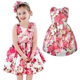 dhl envío gratis ropa de bebé Rebajas DHL libre niña bonita clothessummer niñas vestido sin mangas floral impreso colorido 100% algodón forro ropa niños envío gratis