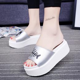 Wholesale Ladies Women Sandal Platform Slippers - 6cm High Heels Women Slides Ladies Slippers Sandals Flips Flops 2017 Summer Beach Platform Shoes Woman Fashion Comfortable Flats