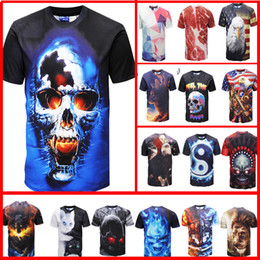 Wholesale Shirt 3d Drying - 3d t shirt printed tshirt Men's women short sleeve casual t-shirt cool summer tops tees t shirt eagle lions cats Skull American flag fashion