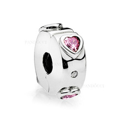 Fancy cz онлайн-2018 New Authentic 925 Sterling Silver Bead Explosion of Love Clip, Fancy Fuchsia Pink & Clear CZ Charm Fit Pandora Bracelets DIY Jewelry