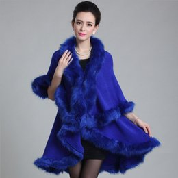 Wholesale Womens Poncho Capes - Autumn winter new womens long fur coat double-decked faux fox Surround fur shawl fashion warm poncho cape knitted Cardigan