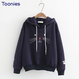 Wholesale Cat Top Hat - Spring New Embroidery Pullovers Sweatshirt Long Sleeved Funny Cat Printed Hooded Sweet Style Woman Hoodies Cotton Tops Harajuku