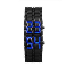 Canada Susenstone Haute Qualité 2018 Cadeau Horloge 2x Lava Style Fer Samurai Noir Bracelet LED Japonais Inspiré Montre ROUGE / BLEU supplier red blue led watches Offre