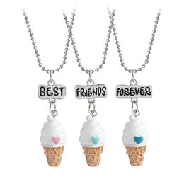 Wholesale Ice Cream Alloy - 2.7*1.3cm BBF Best Friends Forever Ice-Cream Pendant Kids Chokers with 41+7cm Chain Resin Cartoon Necklaces 3pcs lot