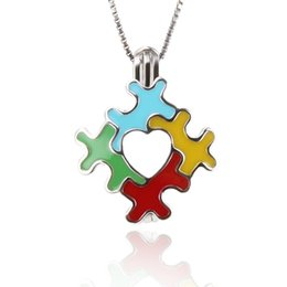 Wholesale autism puzzle - 2 pcs sterling silver AUTISM Puzzle Design Pearl Cage pendants, 19.9*15.3*8.7mm, Fashion Jewelry, Jewelry Making