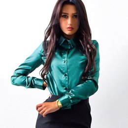 Wholesale Women S Silk Shirts Xl - SIMIN Women silk satin blouse button lapel long sleeve shirts ladies office work elegant female Top high quality blusa Plus Size