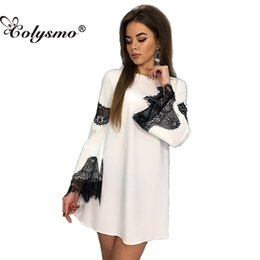 Wholesale Empire Waist Open Dress - Colysmo Round Neck Long Sleeve Summer Dress Loose Stitching Open Casual Mini Dresses Pullover Elastic Waist Solid Color Dress