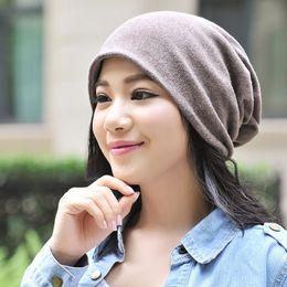 2019 cappelli cool beanie per le donne Moda Donna Uomo Solid Beanie Hat Cool Snap Backs Neck Sciarpa doppio uso per cappelli invernali orecchie XRQ88 cappelli cool beanie per le donne economici