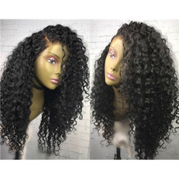 Wholesale curly silk top lace wig - Unprocessed Malaysian Glueless Full Lace Silk Top Wig Kinky Curly Wig 5*4.5 Silk Base Lace Front Wig Bleached Knots