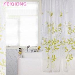 2019 weiße schmetterlingsvorhänge Künstlerischer einfacher Art Schmetterling Pringting Grün + Weiß PEVA-Mehltau-Duschvorhang, der Fenster-Vorhang-Größe 4 verdickt günstig weiße schmetterlingsvorhänge