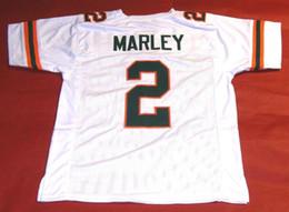 Wholesale bob marley shorts - Cheap retro #2 ROHAN MARLEY CUSTOM UNIVERSITY OF MIAMI HURRICANES white JERSEY THE U BOB MARLEY Mens Stitching Size S-5XL Footbal
