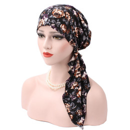 hair fall protection Promo Codes - Muslim Womens Long Pre Tied Bandana Turban Chemo Hat Beanie Sleep Satin Head Scarf Sleep Hair Cover Headwear For Cancer Hair Loss