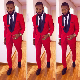 Wholesale Mens Wedding Suits Red Tie - High Quality One Button Red Groom Tuxedos Groomsmen Shawl Lapel Best Man Blazer Mens Wedding Suits (Jacket+Pants+Tie) H:818