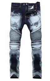 2019 los mejores jeans para hombre Hombres apenados pantalones vaqueros rasgados Diseñador de moda motocicleta recta Biker Jeans Causal pantalones de mezclilla estilo Streetwear para hombre Jeans fresco rebajas los mejores jeans para hombre