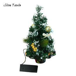 Wholesale Christmas Decorations Desk - 2018 Merry Christmas LED Glow Tree Bedroom Desk Decoration Gift Office Home Festival Decoration PVC Desktop Christmas tree