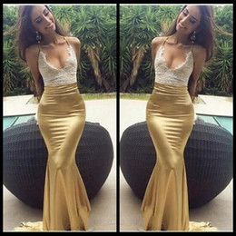 Wholesale Yellow Halter Neck Top - 2018 Charming New Arrival Mermaid Lace Top Prom Dresses Long Gold Skirt Halter Sexy Formal Dresses Party Evening Wear Cheap vestido
